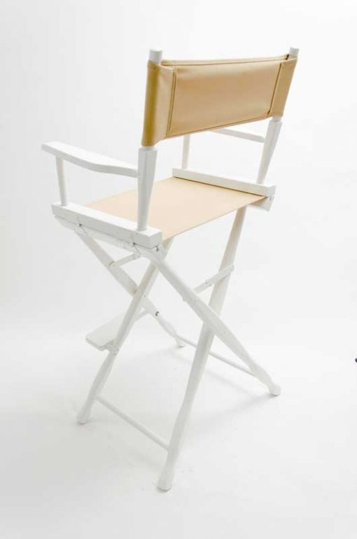 Gold Medal Classic Directors Chairs 30 inch White Wood Khaki Canvas Back