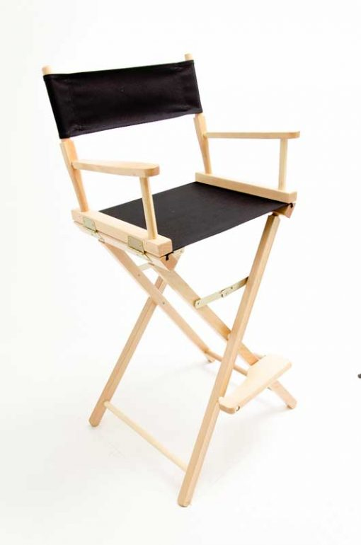 """Gold Medal Directors Chair - Contemporary Natural Wood 30"""" Black Canvas"""