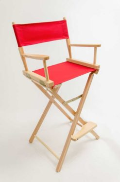 """Gold Medal Directors Chair - Contemporary Natural Wood 30"""" Red Canvas"""