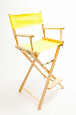 "Gold Medal Directors Chair - Contemporary Natural Wood 30"" Yellow Canvas"