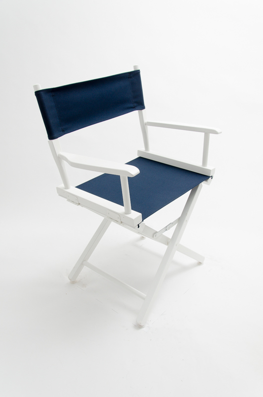 Gold Medal Directors Chair Commercial White 18 Quot Navy Canvas