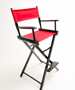 "Gold Medal Directors Chair - Commercial Black Wood 30"" Red Canvas"