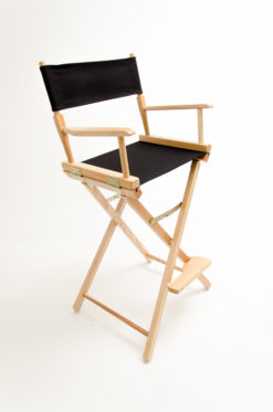 "Gold Medal Directors Chair - Commercial Natural Wood 30"" Black Canvas"
