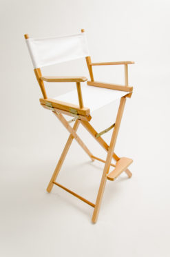 """Gold Medal Directors Chair - Commercial Natural Wood 30"""" White Canvas"""