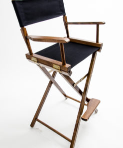 "Gold Medal Directors Chair - Commercial Walnut Wood 30"" Black Canvas"