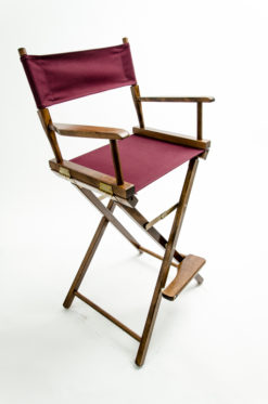 "Gold Medal Directors Chair - Commercial Walnut Wood 30"" Burgundy Canvas"