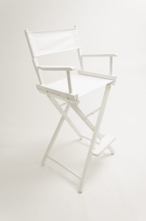 "Gold Medal Directors Chair - Commercial White Wood 30"" White Canvas"