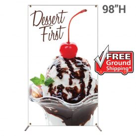Grasshopper Adjustable Banner Stand Large with 59 in. x 98 in. Graphic Package