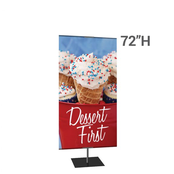 Classic Banner Stand Large 36 In. X 72 In. Black With Square Base, Single-Sided Graphic Package