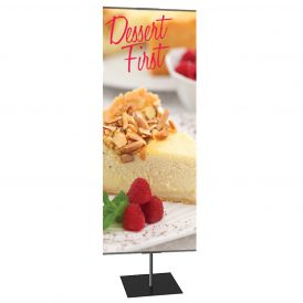 Classic Banner Stand Medium 24 In. X 60 In. Silver With Square Base, Double-Sided Graphic Package