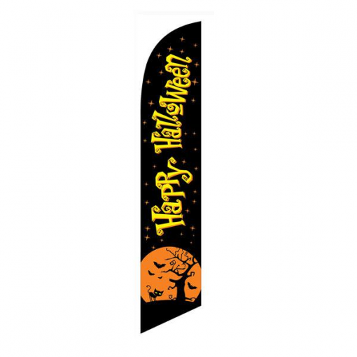 Happy Halloween Black Feather Flag