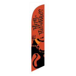 Happy Halloween Orange Feather Flag