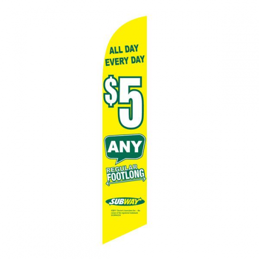 Subway 5 Dollar All Day Feather Flag