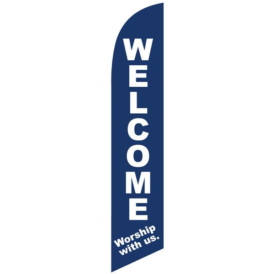 Welcome Worship With Us Feather Flag For Church